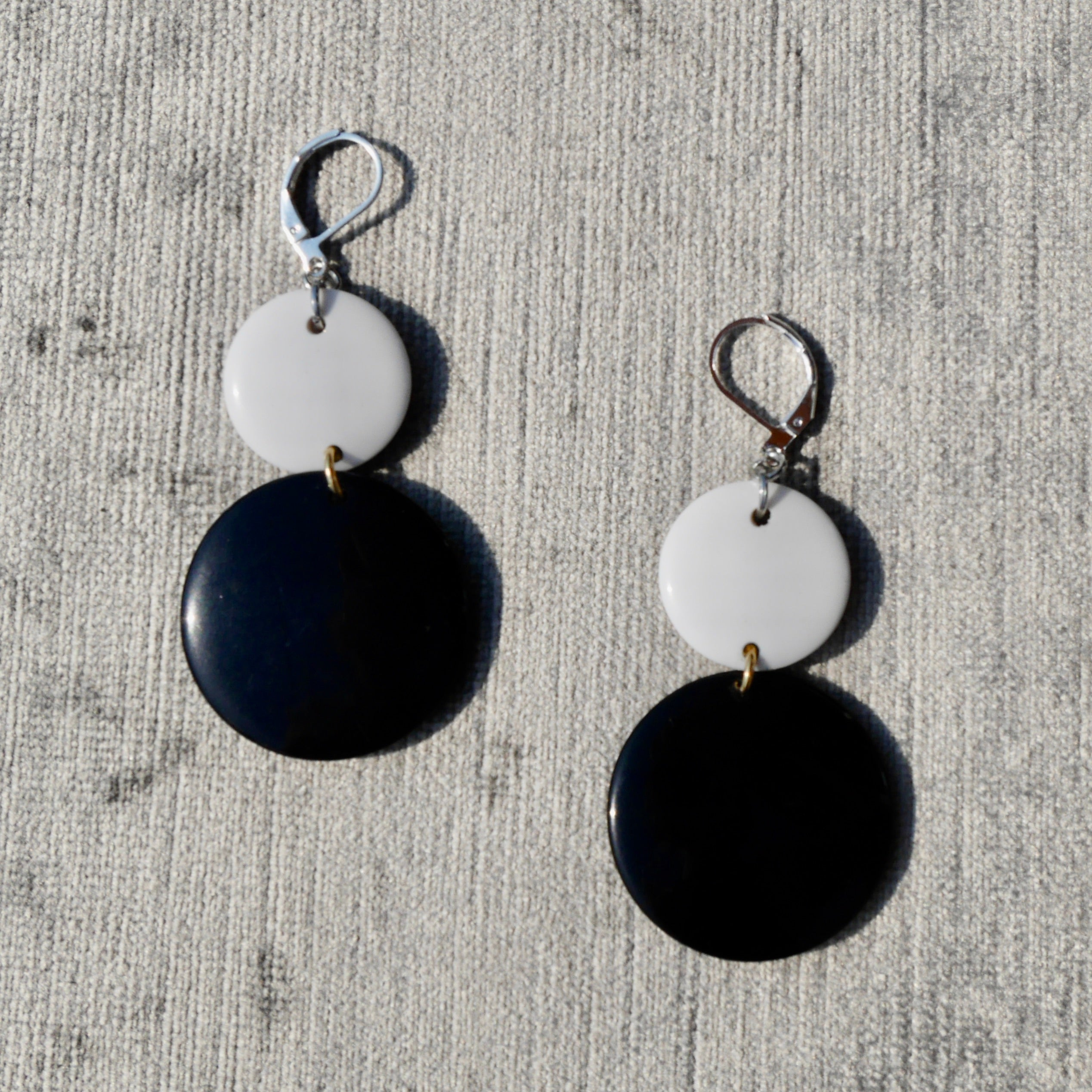 Upcycled B&W 1980s Dangly Earrings