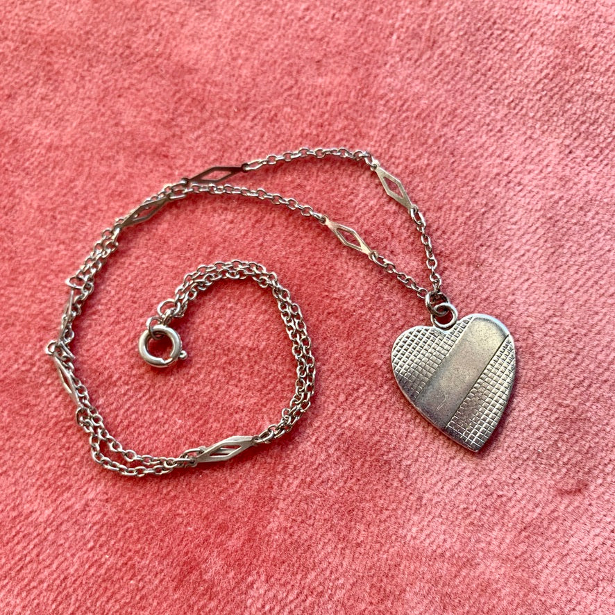 Vintage Up-Cycled Heart Necklace!