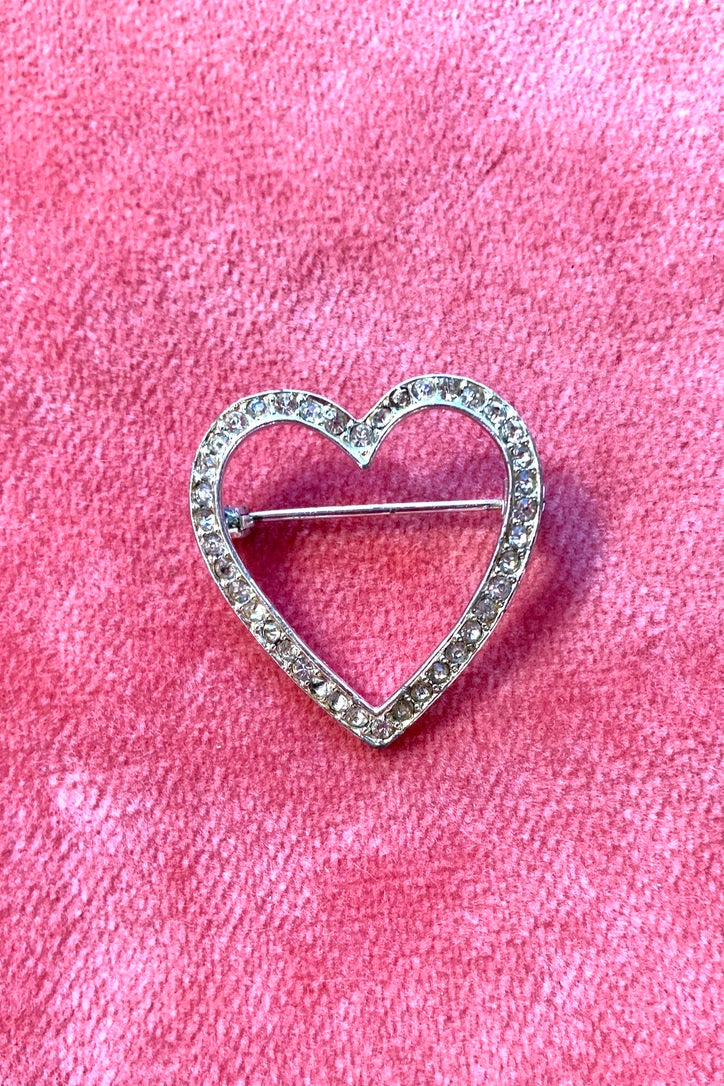 Vintage Sparkly Heart Shaped Pin!