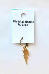 Upcycled Singles! Gold Lightning Bolt! Vintage Charms For Your Ears!