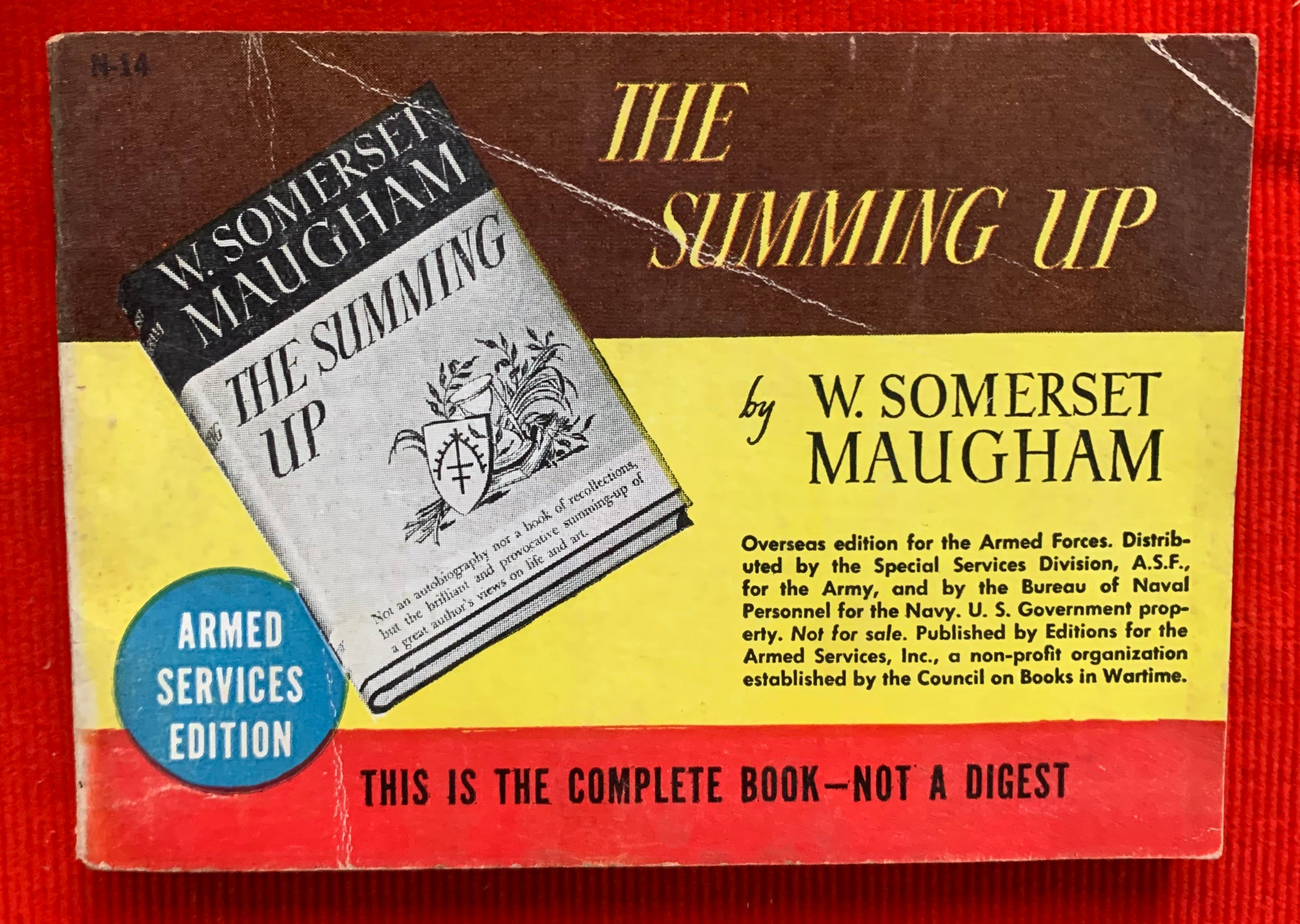 """The Summing Up (Armed Services Edition)"" 1944 By W. Somerset Maugham"