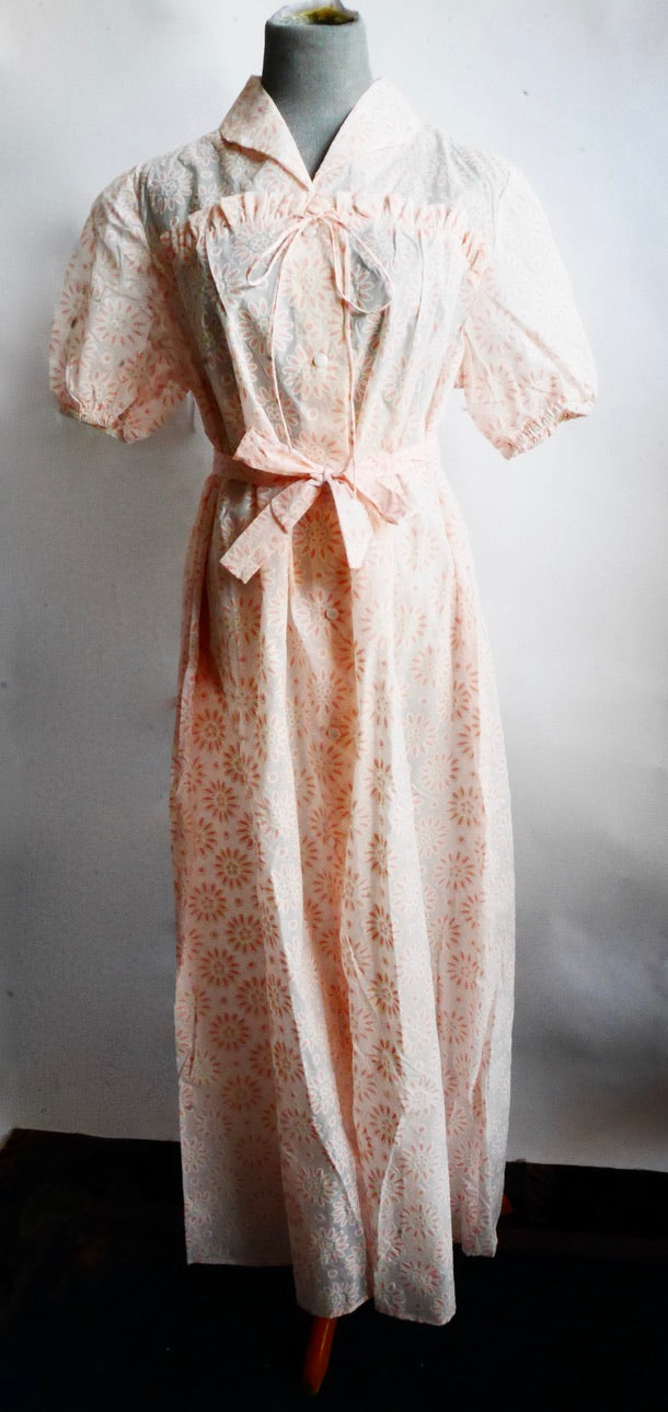 New/Old Stock Sheer Pink Floral Print Vintage Robe