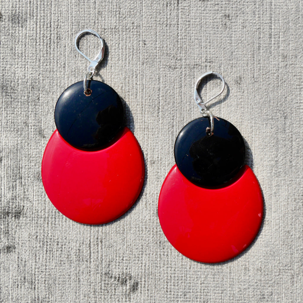 Upcycled 1980s Red & Black Dangly Earrings