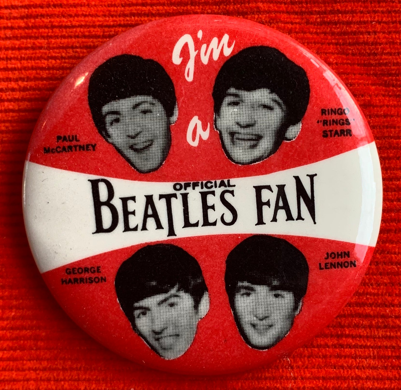 "Vintage ""I'm An Official Beatles Fan"" Pin Button"