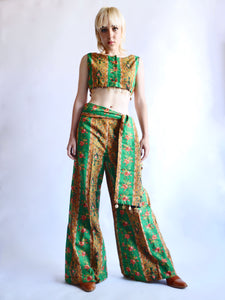 Vintage 1970s Crop-Top and Pant SET w/Sash, Sz S Jeannemarie Volk