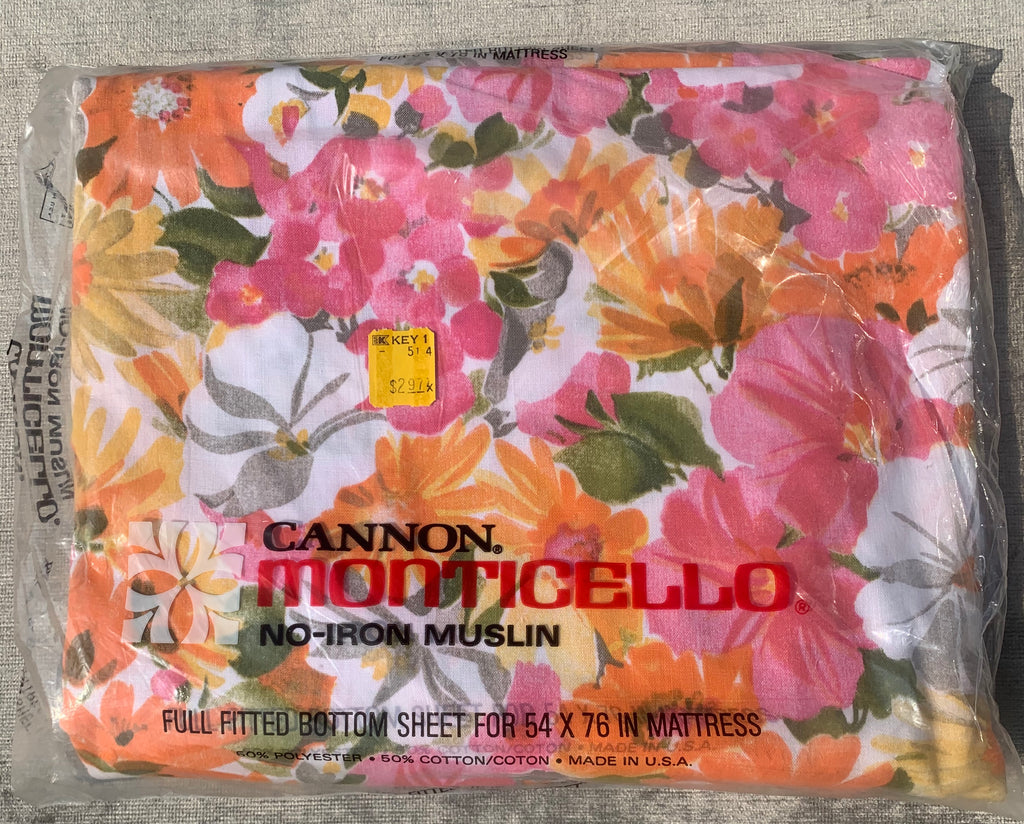 VINTAGE Cannon Monticello Muslin Fitted Bottom Sheet -  Pink Orange Floral