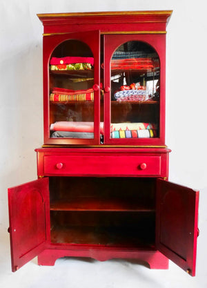 Refinished Petite Red & Gold China Cabinet