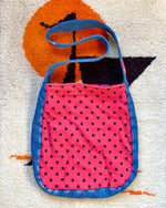 CFLO Upcycled Polka Dot and Denim Tote Bag with Vintage Girl Scout Patch