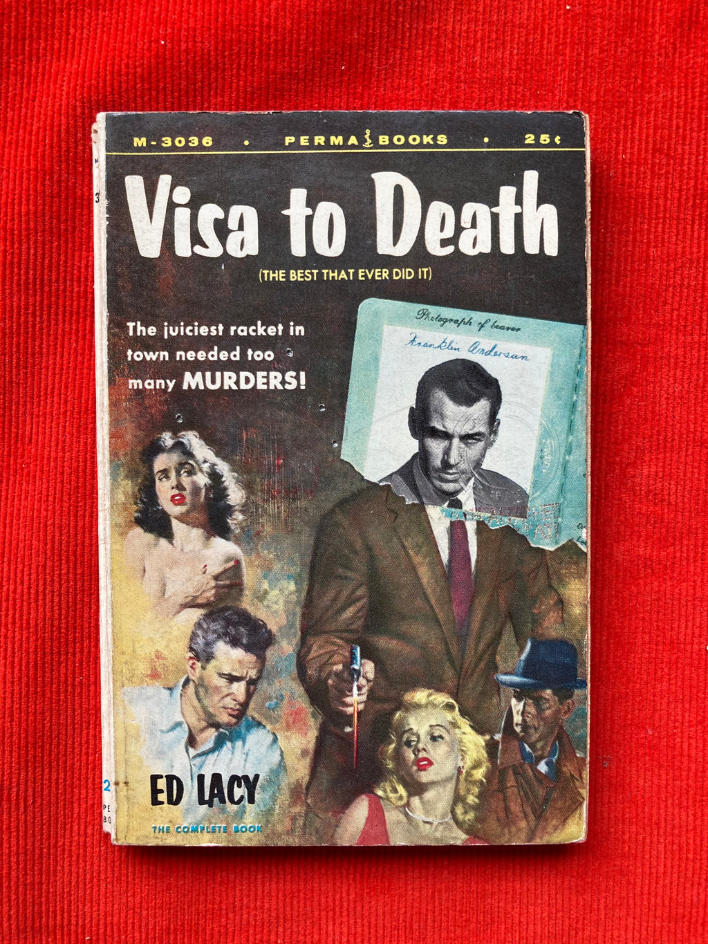 1956 Perma Books, Visa To Death, by Ed Lacy