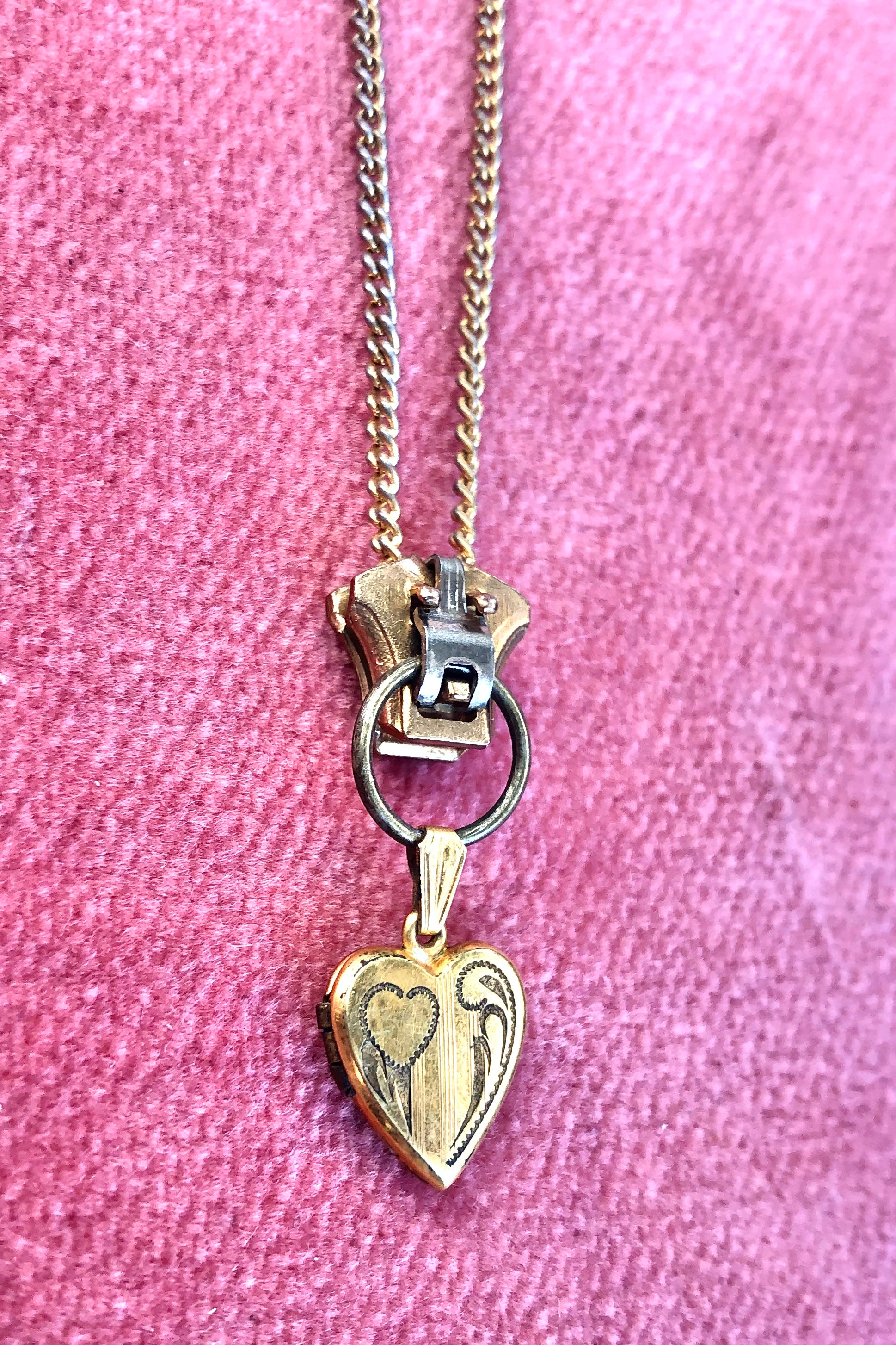 Vintage Heart and Zipper Necklace!