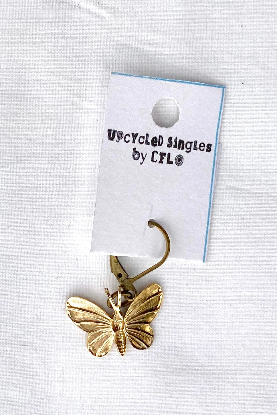 Upcycled Singles! Gold Butterfly! Vintage Charms For Your Ears!