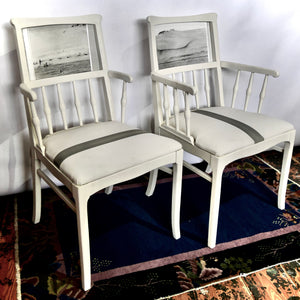 """1974, Vacation in the Desert,"" refinished chairs."