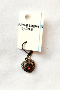 Upcycled Singles! Vintage Heart Charm For Your Ears!