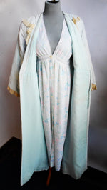 Rule the Home in this Vintage Quilted Blue w/ Lace Robe Sz. M