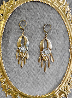 Antique upcycled Art Nouveau-style dangly earrings!