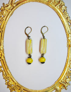 Pretty Yellow, Upcycled Vintage Earrings!