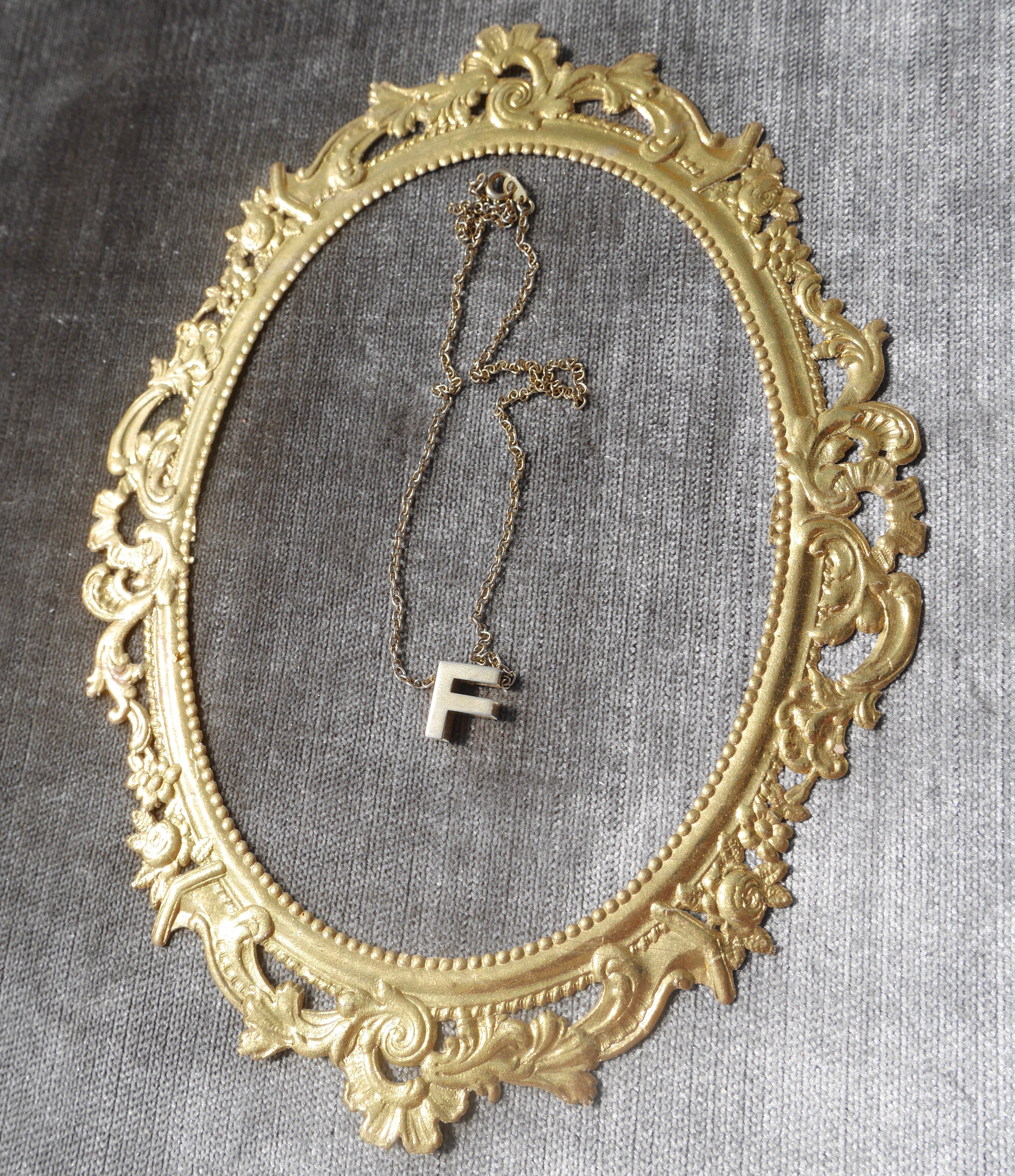 "Do You Need an F? This is YOUR Vintage Gleaming Golden ""F"" necklace!"