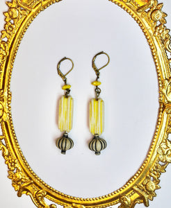 Summery Yellow, Upcycled Vintage Earrings!