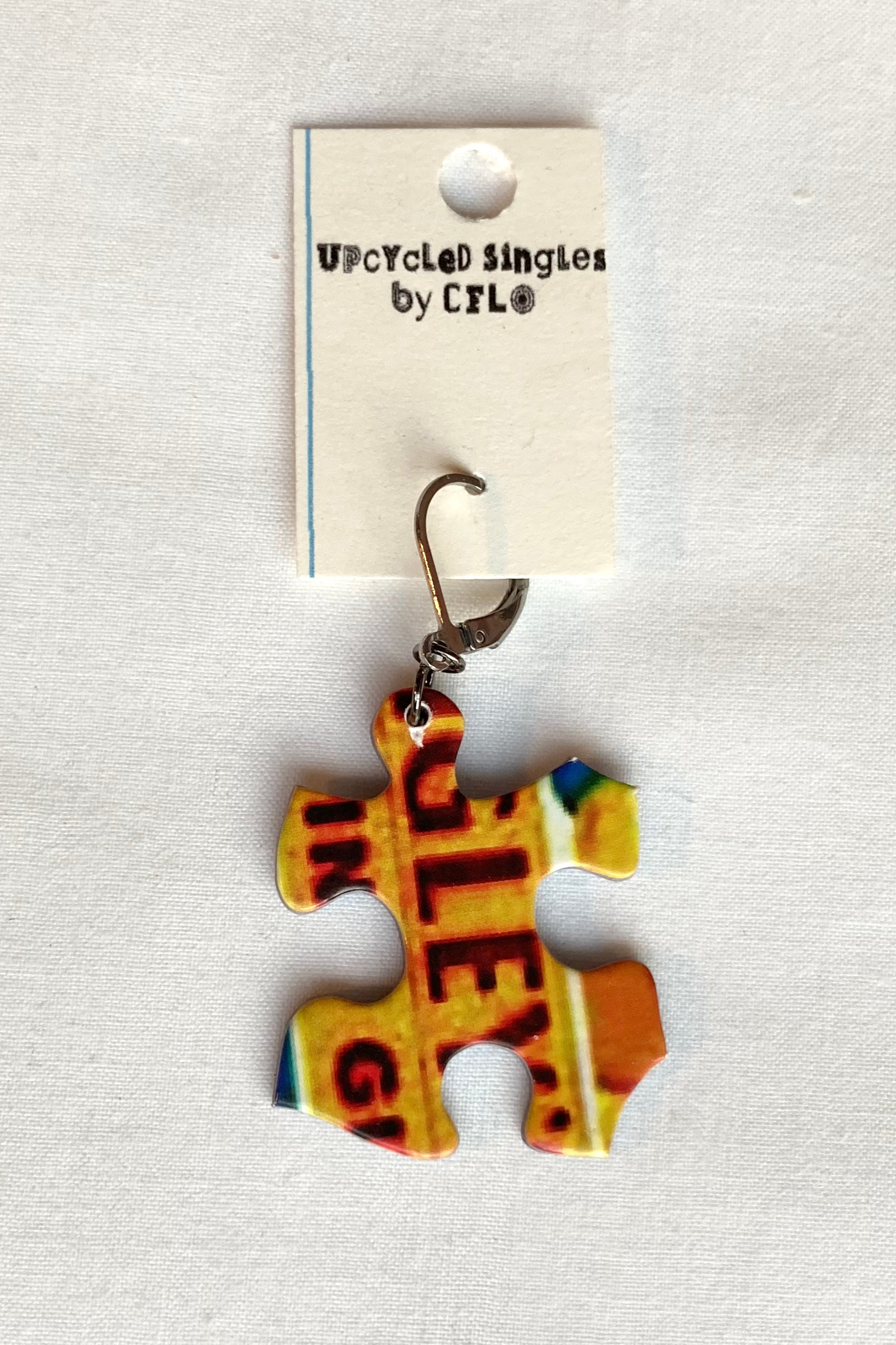 Upcycled Singles! Puzzle Piece! Vintage Charms For Your Ears!