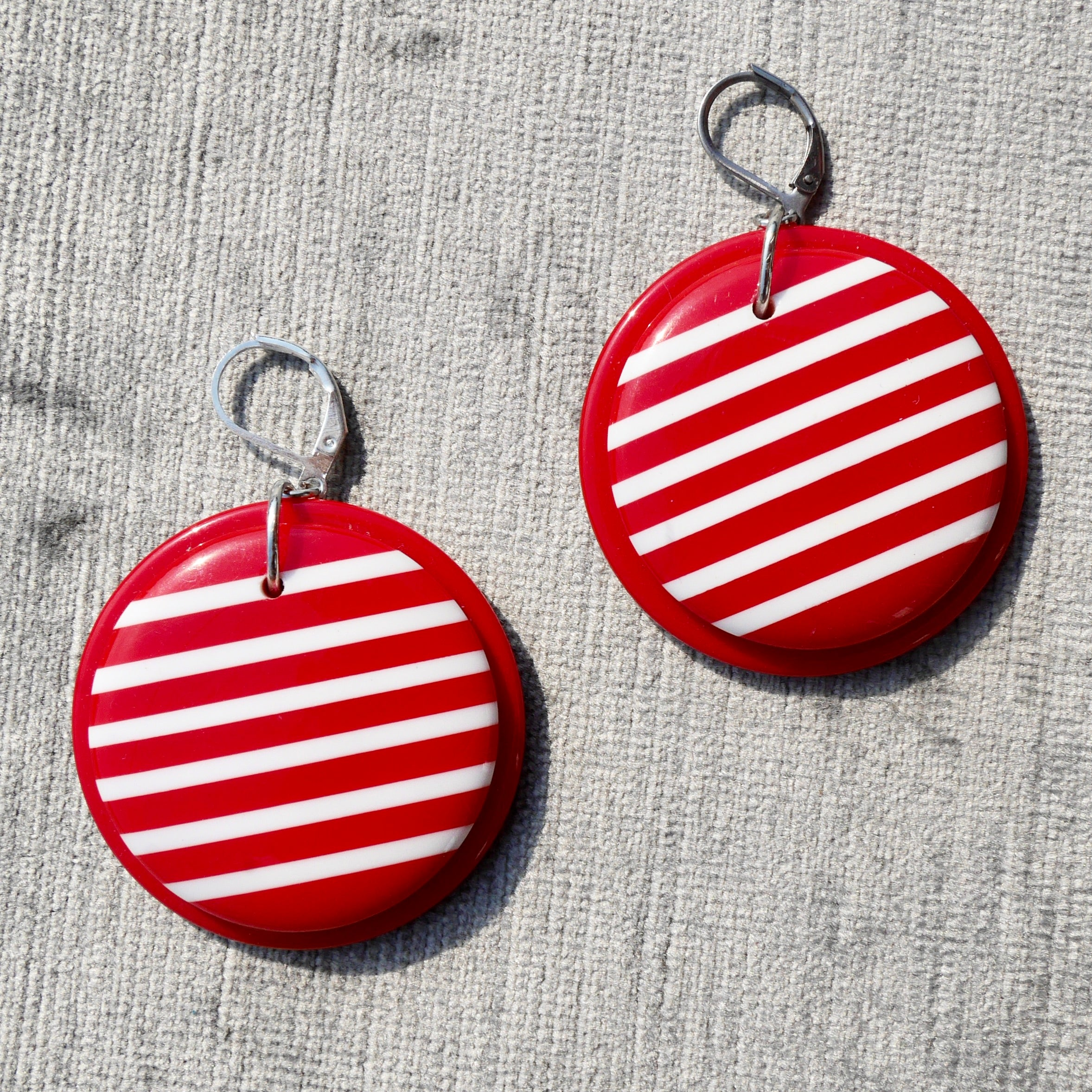 Upcycled Red & White Striped 1980s Earrings