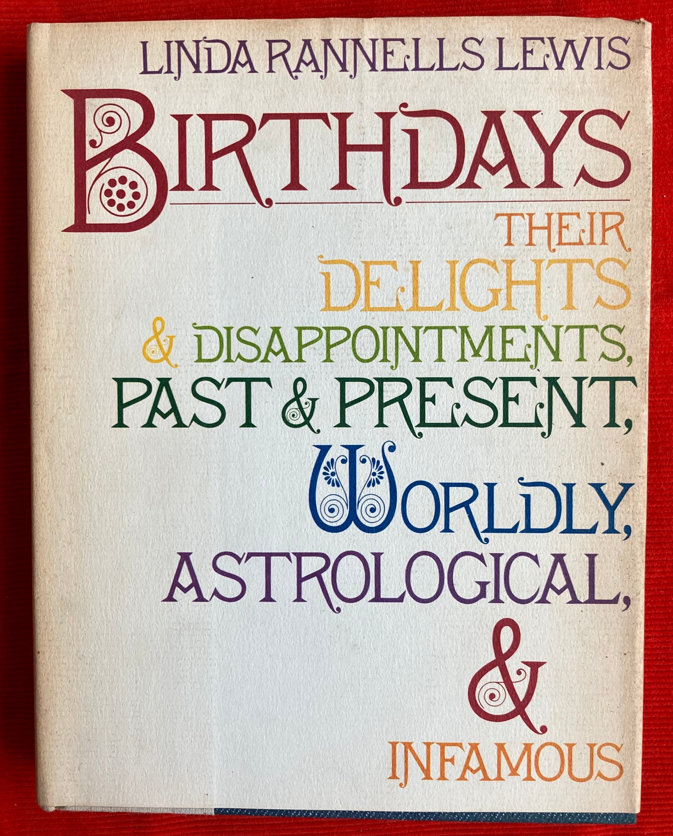 """Birthdays: Their delights, disappointments, past and present, worldly, astrological, and infamous"" By  Linda Rannells Lewis"