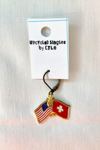 Upcycled U.S.A./Swiss Flag! Vintage Charms For Your Ears!