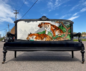 Antique Settee with Black Velvet and Tigers!