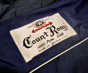 Navy 1950's Count Romi Silk Raincoat w/ Sash, Sz S/M