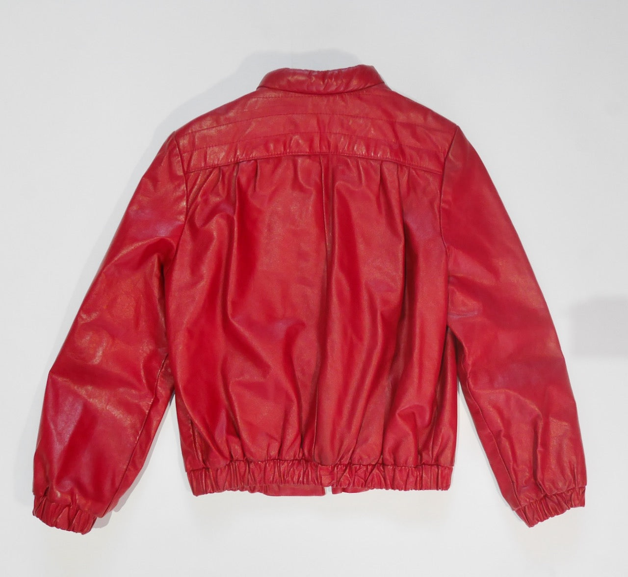 1980s Red Leather Jacket, Sz. S/M