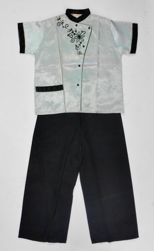 1950s NOS Satin Mandarin Collar Pajama Set!