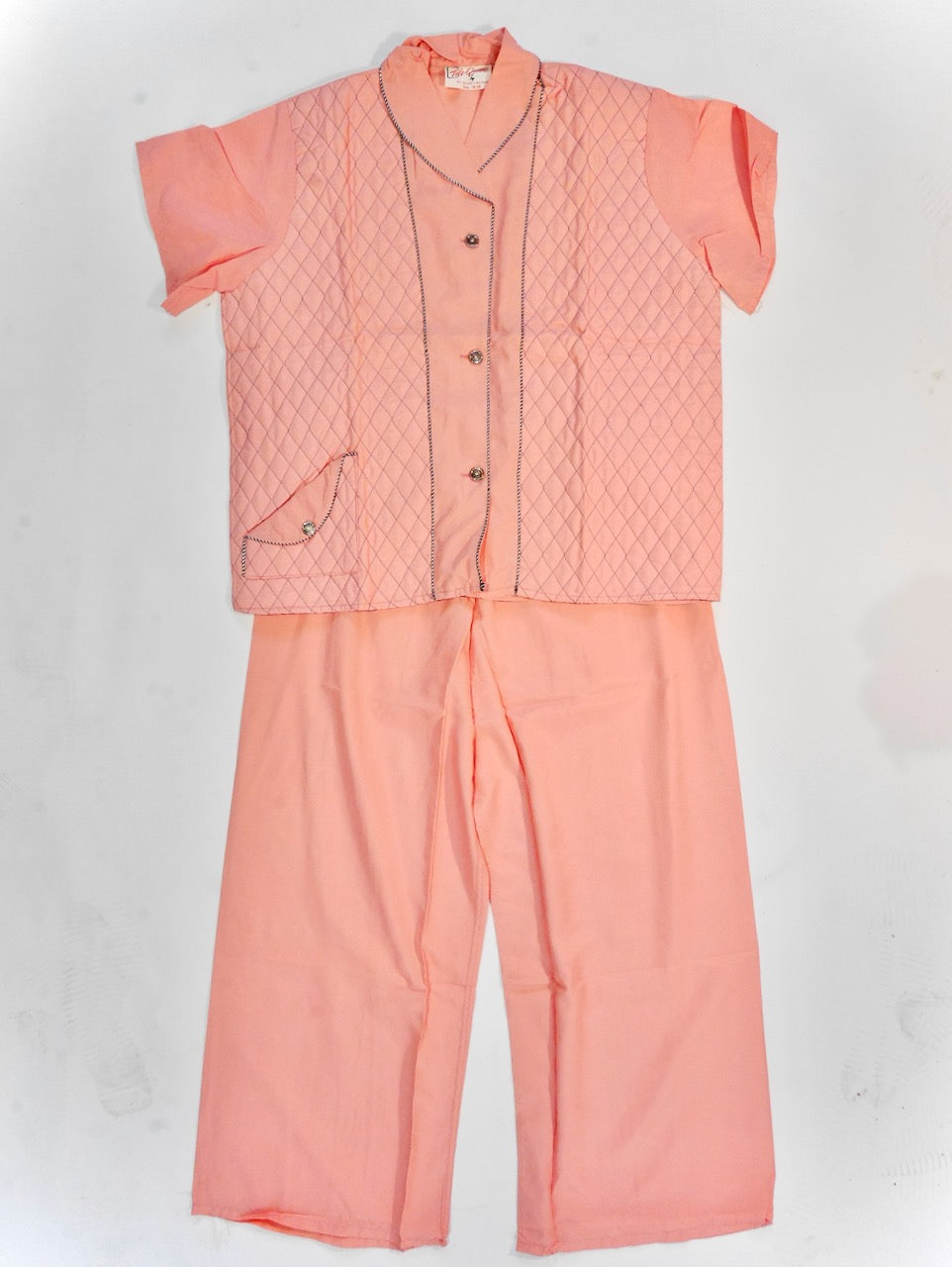1950s Tele-Queen New/Old Stock Quilted Pajama Set!