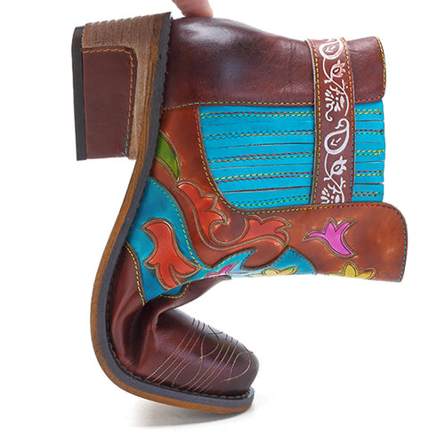 New Women's Leather Boots American Style Cowboy Boots