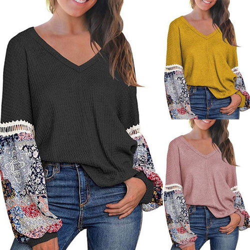 V Neck  Patchwork  Lantern Sleeve T-Shirts