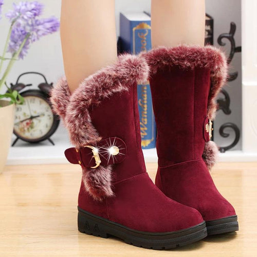 Thick And Round Head Snowy Boots