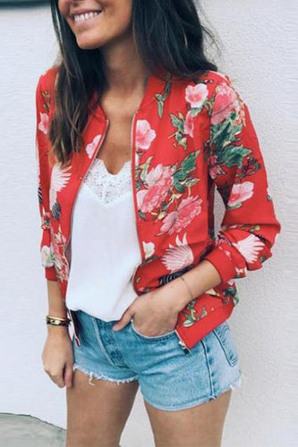 Band Collar  Printed  Basic Jackets