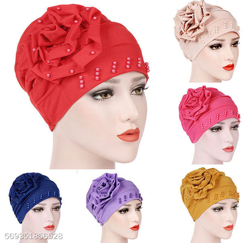 Women Girls Turbantes  Stretchy Beanies With Big Flower