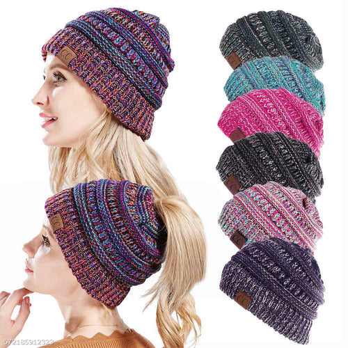 Womens Winter Messy Bun Ponytail Beanie Hat Multifunctional Hat Warm Soft Knitting Bonnet Cap