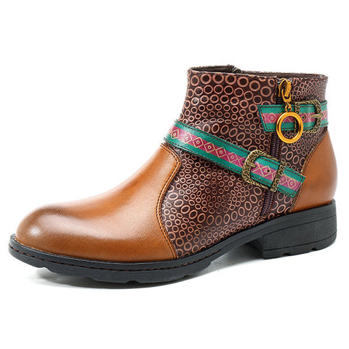 New Retro Flat Plaid Leather Boot With Buckle
