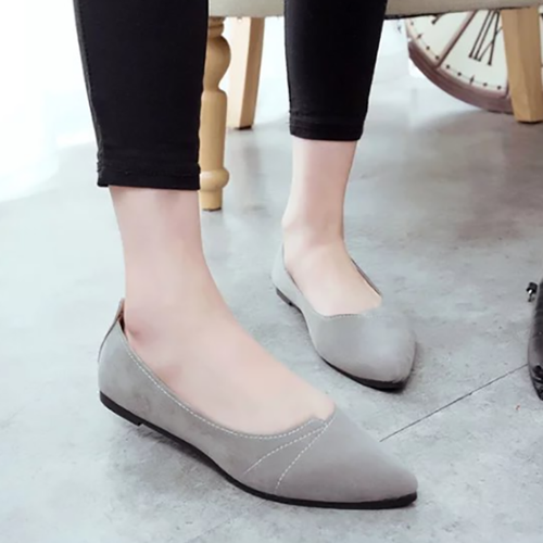 Solid Slip On Pointed Toe Flat Shoes