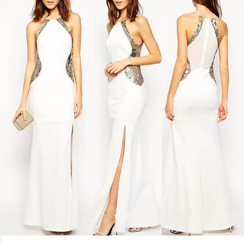 Halter Sequin Stitching Sleeveless Maxi Evening Dress