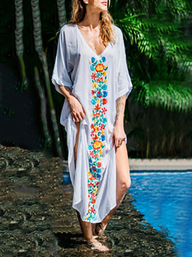 V-Neck Cotton Colorful Flower Embroidered Loose Beach Holiday Dress