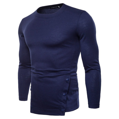 Men's Solid Color Buttoned Long Sleeve T-Shirt