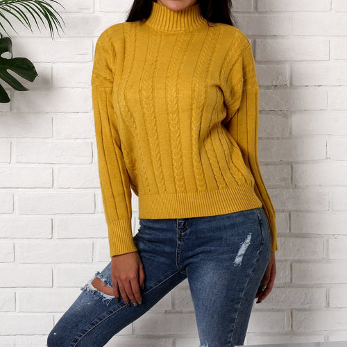 Pullover Solid Color Loose Long-Sleeved Sweaters