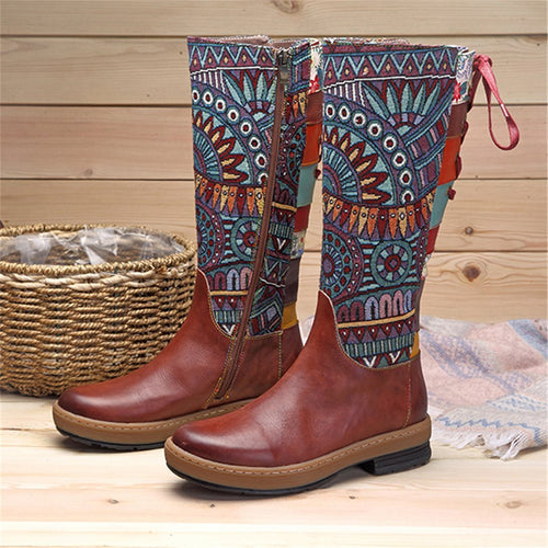 Fashion Handmade Leather Bohemian Long Boots