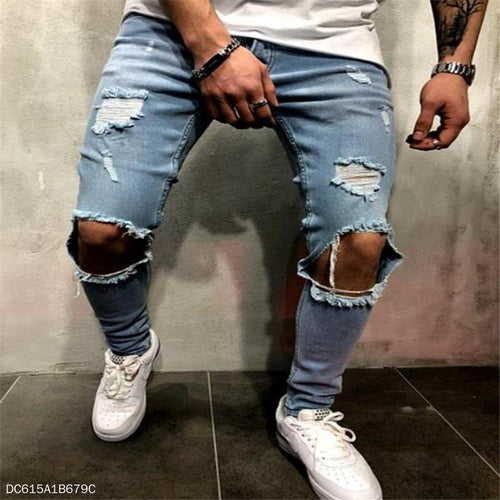 Fashion Youth Casual Plain Hole Denim Long Pants