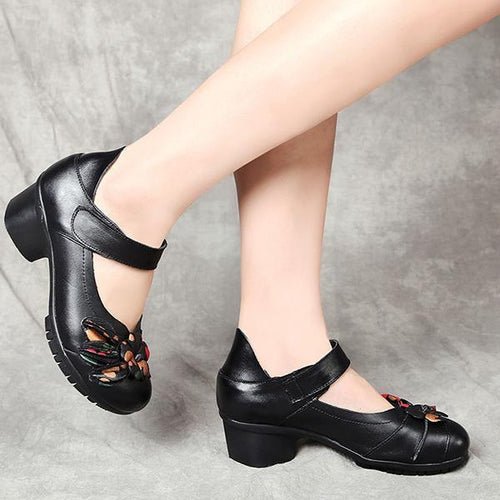 Thick Heel With Flower Velcro Mother Shoes