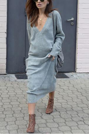 Casual Vacation Fashion Loose Plain V Collar Long Sleeve Maxi Dress