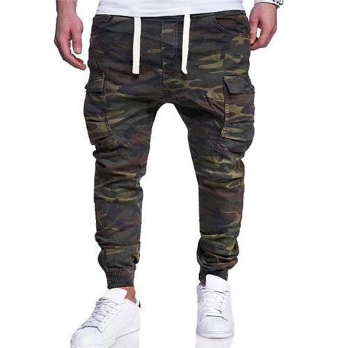 Fashion Elastic Waist Camouflage Packets Pants