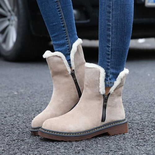 Thick Heel Boots Women's Warm Snow Boots Side Zipper Tube Snow Boots