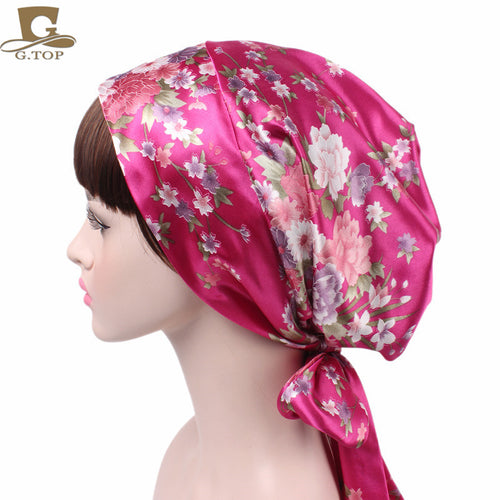 Bow Tie Headscarf Hat Silk Chemo Hat Long Tail Braid Hat